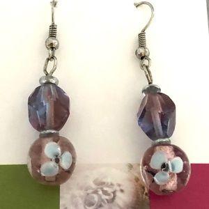 Purple drop earrings with flowers NEW